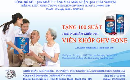Công bố kết quả khách hàng may mắn nhận quà Viên khớp GHV BONE trị giá 5.040.000vnđ (Từ ngày 08/08 – 31/08/2019)